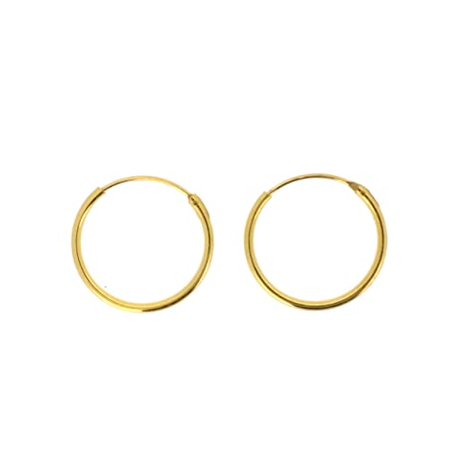 4b8161d25 925 Sterling Silver Hoop Sleeper Earrings |Size: 8mm|Style: Yellow Gold  Dipped