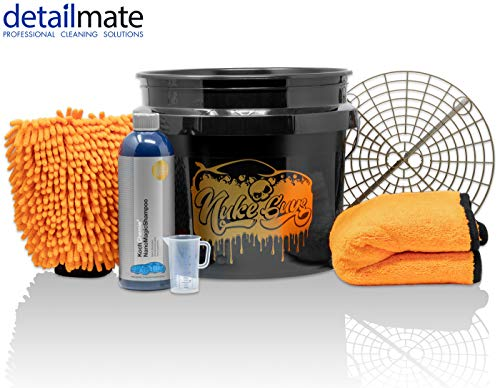 detailmate Set Handwäsche: GritGuard Wascheimer 3,5 GAL + Grit Guard Einsatz + Liquid Elements Orange Baby Trockentuch + Koch Chemie NanoMagic Autoshampoo 750ml + Waschhandschuh + Messbecher