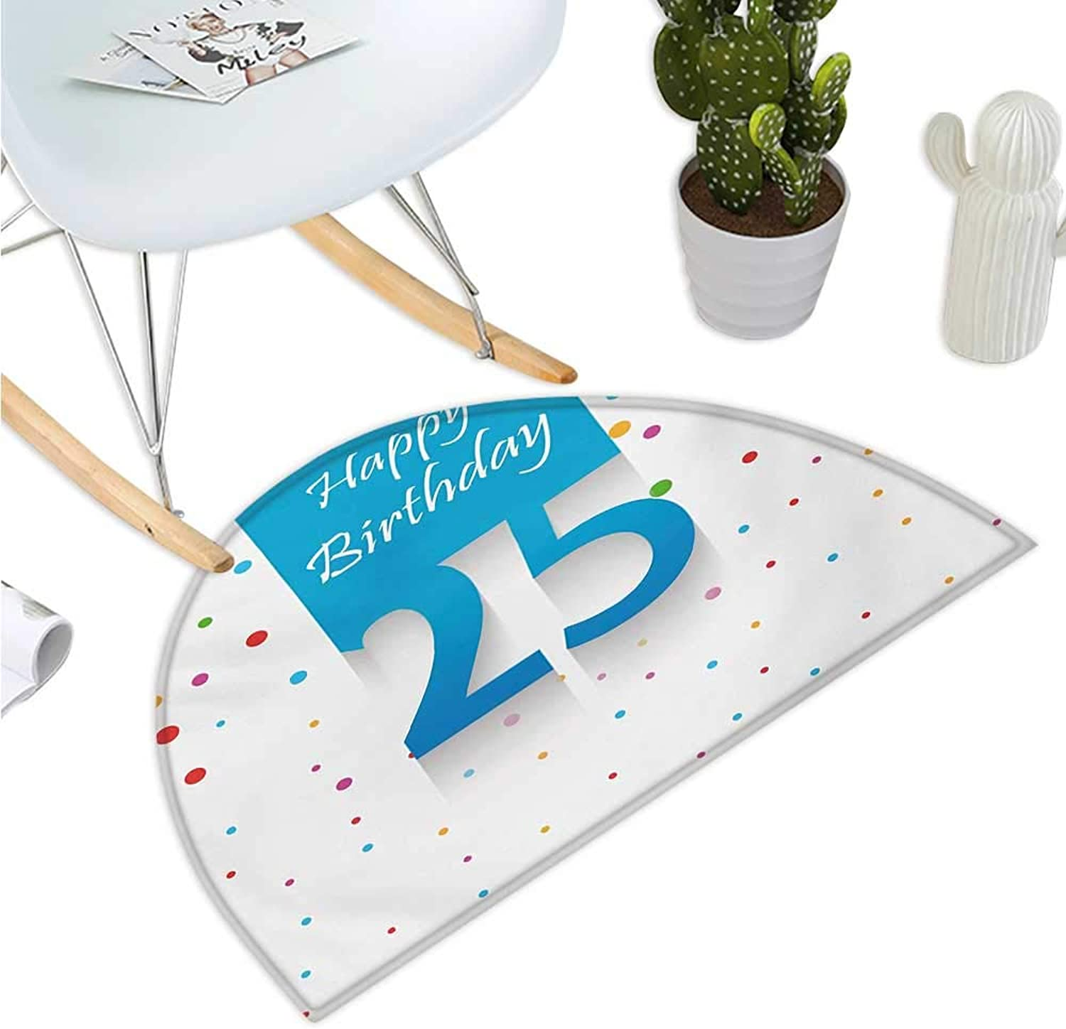 25th Birthday Semicircle Doormat Big and Small Polka Dots Confetti Rain and bluee Square Hand Written Print Entry Door Mat H 35.4  xD 53.1  Multicolor