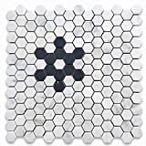 Stone Center Online Carrara White Marble 1 inch Hexagon w/Black Marble Snowflake Pattern Mosaic Tile Honed for Kitchen Backsplash Bathroom Flooring Shower Surround Dining Room (1 Sheet)