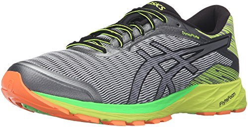 ASICS Men's Dynaflyte Running Shoe, Mid Grey/Black/Safety Yellow, 6 M US