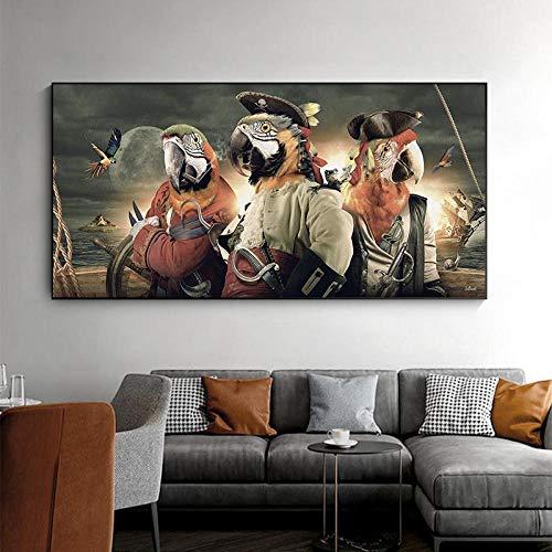 QZROOM Loro en un Disfraz de Pirata Pster Imgenes de Pared para Sala de Estar Lienzo Pintura de Animales Arte Decoracin de la Pared Impresin Imagen de pjaro -60x120cm Sin Marco