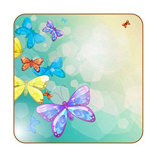 Posavasos retro de piel sintética de mariposa para bebidas, paquete de 6 posavasos cuadrados para bebidas para el hogar o el bar, regalo de inauguración de la casa