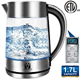 Vestaware Electric Kettle Glass Temperature Control, 1.7L Tea Kettle Cordless with LED Blue Light,Water Kettle Electric with Auto Shut-Off,Keep-Warm Function