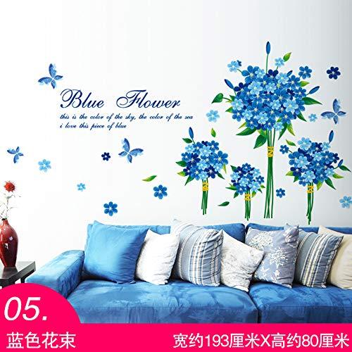 JKJND Stickers Muraux Autocollant 3D Fleurs En Trois Dimensions Filles En Pot Fille Méditerranéenne Dessin Animé Papier Peint Salon Décoration Mur De La Chambre, 05 Bouquet Bleu