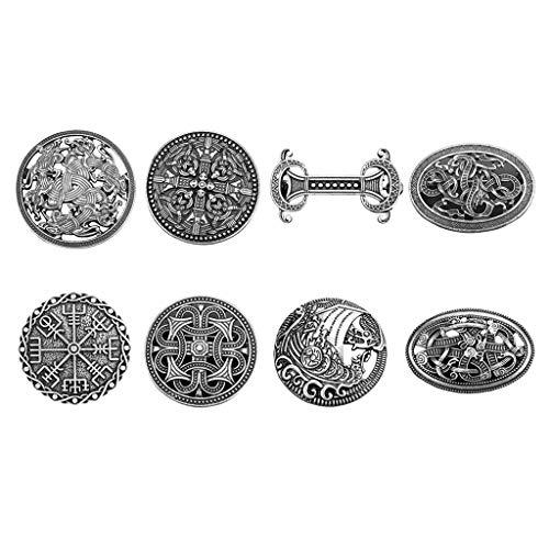 freneci Paquete de 8 Broches Vikingos Medievales Pagano Celta Amuleto Nórdico Wiccan Chal Suéter Alfileres