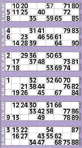 Jumbo Bingo-karten polster 600 Tickets per Polster 6 ansicht vielzahl von farben - Lila