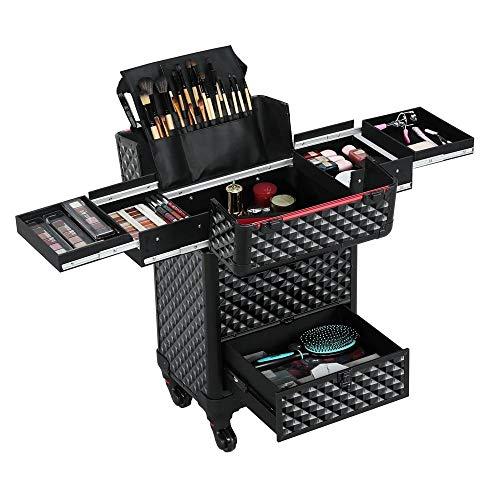 Yaheetech Alu Kosmetikkoffer Trolley Multikoffer Schminkoffer Beauty Case mit Tasche für Make-up...