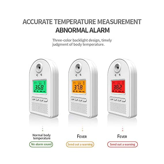 Wall-Mounted Thermometer for Adults, Non Contact Thermometer, in Door Body Digital Thermometer Hand Free Forehead Thermometer for Offices, Factories, Shops, Schools, Restaurants 11 EASY TO USE: The forehead thermometer accurately measures a person?s body temperature in as little as one second. A reading is taken as soon as an individual?s forehead is detected within 2-4 inches of the thermometer?s sensor. A green light will indicate that their temperature is within a normal range, and a flashing red light. NON-CONTACT HAND FREE MEASURING:: Using a new chip, the induction time is faster, the induction time is 0.1 s; the temperature measurement accuracy is high, and the accuracy tolerance is ±0.18°F. The test temperature passing rate per minute is greatly improved. Can detect 50 people in 1 minute at the fastest. EASY INSTALLATION: Our Wall Mounted Infrared Thermometer is very easy to mount on the wall using nails, hooks, double-sided adhesive tape, or brackets, and can be connected to a wall charger, power bank, or any other portable power source.
