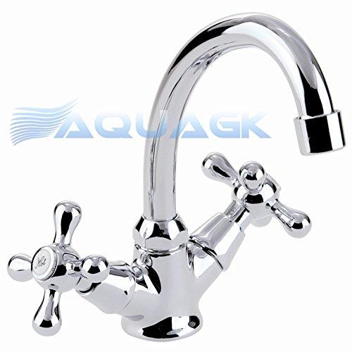 Zweigriff Retro Waschtisch Armatur Waschbecken Wasserhahn Nostalgie b203