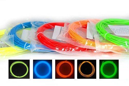 AngeliteCare - Filamento penna o stampante 3D - PLA 1,75 mm (Si illuminano al Buio - 5 pezzi colorati - 50 metri/165 piedi)