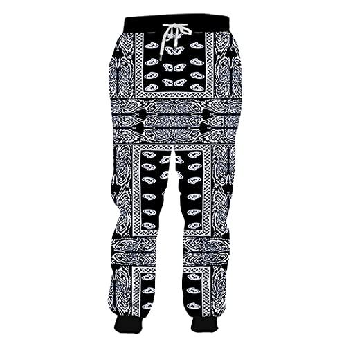 BLACKHEI Pantalones deportivos divertidos para hombre con estampado en 3D y hojas, Pa02839q., 4XL
