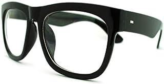 Black Oversized Square Glasses Thick Horn Rim Clear Lens...