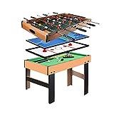 Mesa de Juego combinada multifunción 4 en 1, Mesa de Billar / Air Hockey / Mini Mesa de Ping Pong / futbolín con Todos los Accesorios