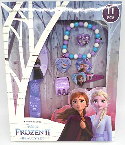 TDL Disney Frozen Geschenkbox Mädchen 11-teilig - Offiziell Lizensiert - Haarbürste - Haarbänder - Haarklips - Ring - Perlenarmband - Haarklammern - Beauty Set