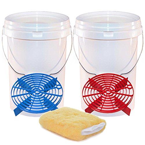 2seaux pour Le Lavage de Voiture - avec Protections Contre Les Rayures - Solution de Nettoyage sans Tourbillon - Gant de Nettoyage