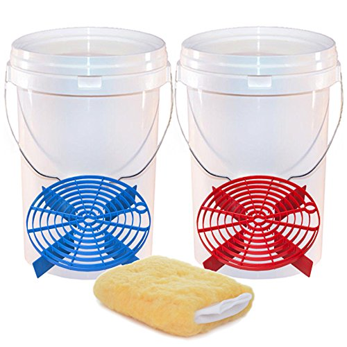 2 Car Wash Buckets & Scratch Shields - 2 Bucket Wash Method/System - Swirl Free Wash Solution - Wash...