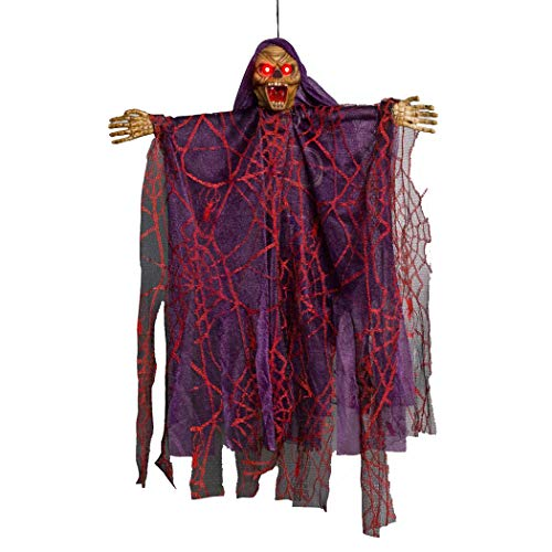 20 Inch Scary Halloween Hanging Ghost with Creepy Scream and Glowing LED Red Eyes, Horror Witch Animated Grim Reaper Skeleton Ghost Spooky Party Props Halloween Decoration for Outdoor Indoor (Purple)