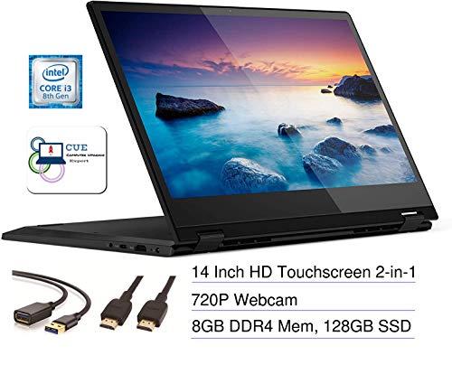 Lenovo Flex 14 2-in-1 Convertible Touchscreen HD Laptop Computer PC, Intel Core i3-8145U, Intel UHD Graphics 620, HDMI, USB-C, Windows 10, CUE Accessories Bundle (8GB DDR4 RAM, 128GB SSD)