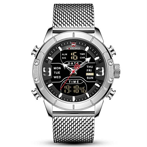 Waterproof Watches Men Stainless Steel Quartz Digital Watch Luxury Chronograph Wristwatch Gifts