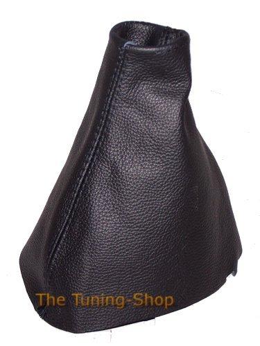 Soufflet de levier de vitesse en cuir véritable noir.