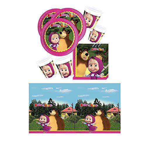 Procos Set de fiesta de 37 piezas, diseño de Masha y el oso, platos, vasos, servilletas, mantel para 8 niños