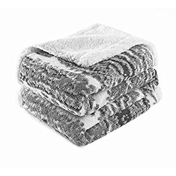 LA MEACK Sherpa Fleece Blanket Throw Blanket for Couch Home Decor Soft Fuzzy Bed Blanket Plush Fluffy Throw Blanket Suitable for All Season Use Grey 60 x80