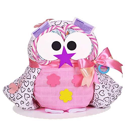 MomsStory - Windeltorte Mädchen | Windel-Eule in rosa | Baby-Geschenk zur Geburt Taufe Babyshower | mit Mehrzweck-Spucktuch Schnuller Söckchen & mehr