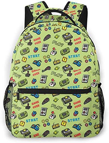 Video game pattern Basic Travel Laptop Backpack Novelty School Bag-Video Game Pattern