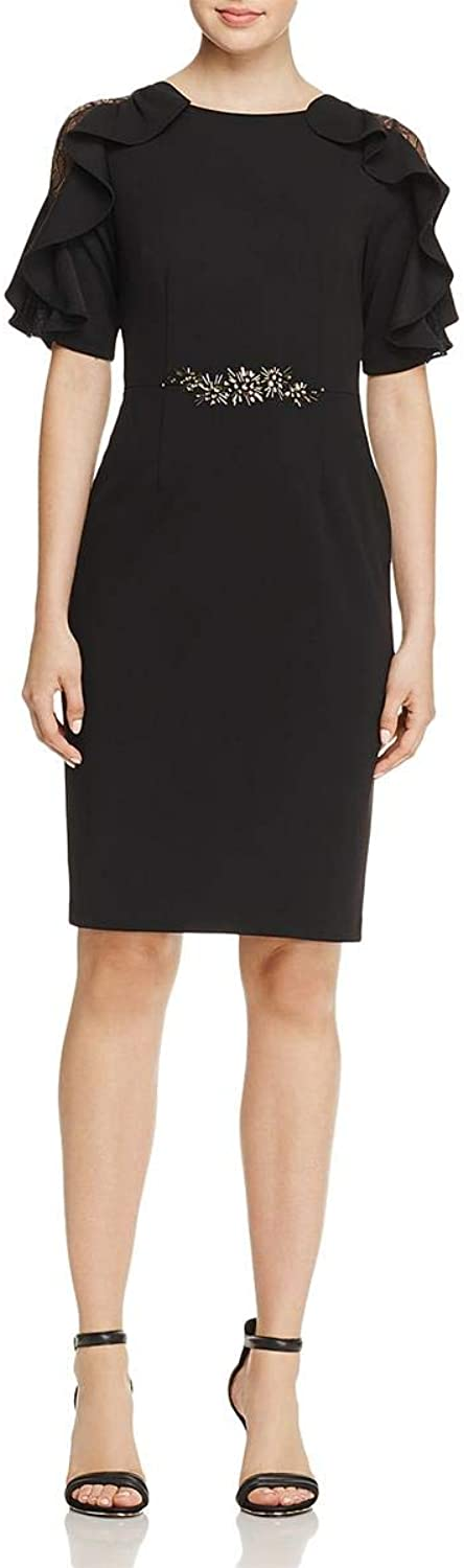 Adrianna Papell Womens Embellished Ruffled Cocktail Dress