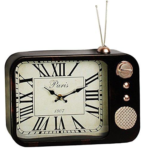 alles-meine.de GmbH große Wanduhr / Tischuhr - aus Metall -  Radio / TV / Fernseher - Retro & Vintage Design - schwarz  - schleichendes Uhrwerk ! - sehr leise ! - Uhr - Antik -..