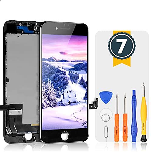 bokman Bildschirm Reparaturset kompatibel mit Schwarz iPhone 7 (inkl. Glas, Retina LCD, Touchscreen), Passendes Profi-Werkzeugset enthalten