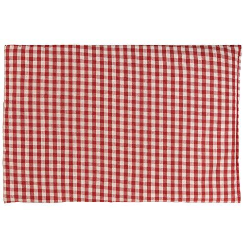 Kirschkernkissen 30 x 20 cm, Bio Stoff rot-weiß - Als Wärmekissen & Kältekissen - Körnerkissen für Mikrowelle und Backofen