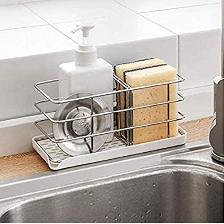 Timpou Porte-éponge en acier inoxydable 304, multifonctionnel pour évier de cuisine, organisateur d'évier, plateau égouttoir à vaisselle, porte-savon, panneau de suspension réglable