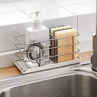 Timpou Porte-éponge en acier inoxydable 304, multifonctionnel pour évier de cuisine, organisateur d'évier, plateau égoutto...
