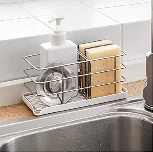 Timpou Supporto in spugna in acciaio inox 304, multifunzionale per lavello da cucina, organizer per lavandino, vassoio scolapiatti, portasapone, pannello regolabile da appendere, ganci adesivi