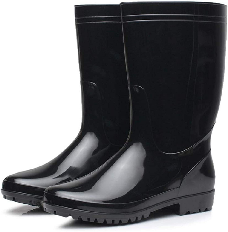 Belingeya Men's Rain shoes Pure color PVC Men's Boots Summer Skid Resistant Medium Tube Leisure Water Boots Fishing shoes Men's Rain shoes Snow boots for male (Size   6 UK)