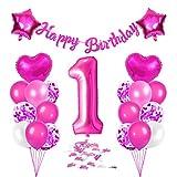 Bluelves Luftballon 1. Geburtstag Rosa, Deko 1 Geburtstag Mädchen, Geburtstagsdeko 1 Jahr, Riesen Folienballon Zahl 1, Happy Birthday Girlande Folienballon Zahl 1 für Kinder Mädchen