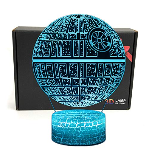 LED 3D Optical Illusion Smart 7 Colors Night Light Desk Lamp with USB Cable (Death Star DS-1 Platform)