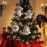 KEAIDO Adorno colgante de árbol de Navidad, 4 piezas de decoración de arpillera mini regalo calcetines medias, Navidad fiesta puerta ventana pared hogar cocina oficina mesa decoración invierno