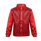 FEESHOW Kids Big Boys Shiny Sequined Shirt Vest Waistcoat Jacket for Wedding Prom Dance Performance Costume Red 7-8