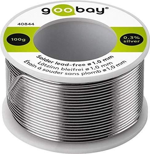 Goobay 40844 Lötzinn bleifrei; ø 1, 0 mm, 100 g Markenlötzinn mit einem Silberanteil (Ag) von 0, 3%