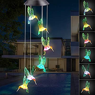 Ninonly Solar Hummingbird Wind Chime,Outdoor Waterproof Multi-Color Changing LED String Mobile Wind Spinner Light for Home Yard Party Night Garden Decoration