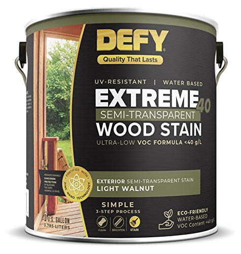 DEFY Extreme 40 Semi-Transparent Wood Deck Stain - Ultra Low VOC Formula, 1 Gallon - Light Walnut