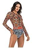 Costume Intero Donna Manica Lunga Surf Bikini con Zip e Coppe Monokini Floreale Costumi da Bagno Push Up Tuta Un Pezzo Body da Ginnastica Artistica Abbigliamento Sportivo Fitness Swimsuit Beachwear