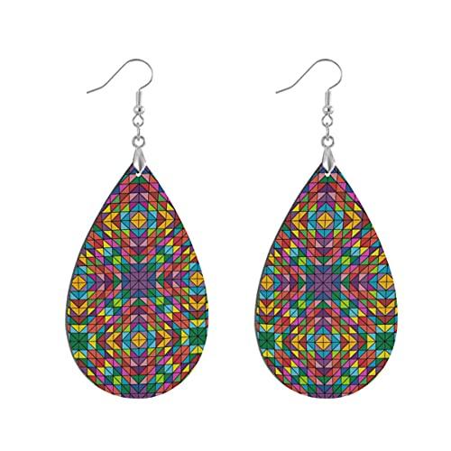 1 par de pendientes de madera con forma de gota de agua multicolor colores coloridos de madera pintada pendiente de gota para las mujeres, Teardrop, Madera Cobre Plata,