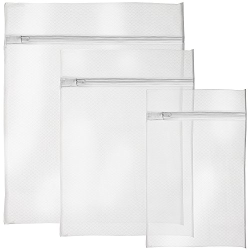 igadgitz Home U6521 Wäschenetz Reißverschluss Wäschesäcke Mesh Wäschetasche Waschmaschine Wäschebeutel - 3 Stück, Weiß (1x Klein, 1x Medium & 1x Groß)