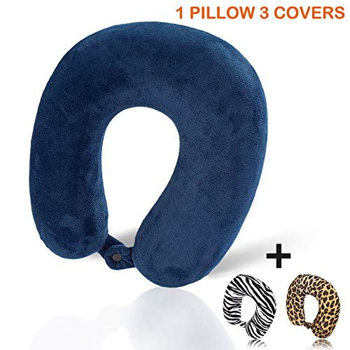 HERIGGA Thermosensitive Memory Foam Travel Neck Pillow Attaches to Luggage Perfectly to Your Neck and Head with 3 Pack Velour & Stay Cool Washable Pillows Cover Best for Airplane Home Office