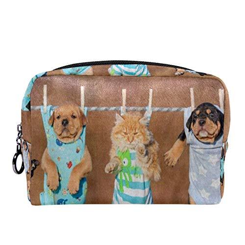 Bolsas de Maquillaje Estuche multifunción para Organizador de Bolsas de cosméticos de Viaje portátil Ropa de Gato de Perro con Neceser con Cremallera para Mujer