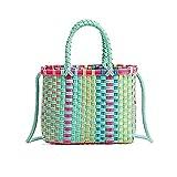Ouuager-Home Bolsa de ratán Bolsas Tejidas Bolsas de Mano Crochet Tejido Paja Cesta Bolso Shopper Playa de Mano Bolsa de Paja (Color : Multi-Colored, Size : Free Size)